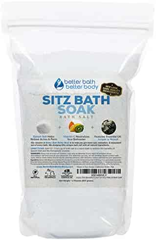 Sitz Bath Soak 32oz (2-Lbs) Epsom Salt With Niaouli, Geranium, Lavender, Frankincense, & Juniper Essential Oils & Vitamin C Crystals - Natural Hemorrhoid Treatment, Fissures, & Postpartum