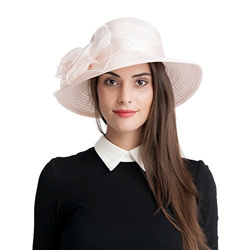 Seven Flowers Ladies Straw Easter Kentucky Derby Hat Women Church Wedding British Tea Party Hats (9-Pink) ()