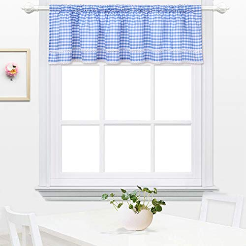 DOKOT Buffalo Check Plaid Gingham Country Kitchen Cafe Curtain Tier and Valance with Lace Crochet Border, 12 x 60 Inch, Blue