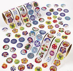 Christmas Roll Stickers - Fun Express Holiday Scrapbooking Sticker Assortment (1000 Sticker)