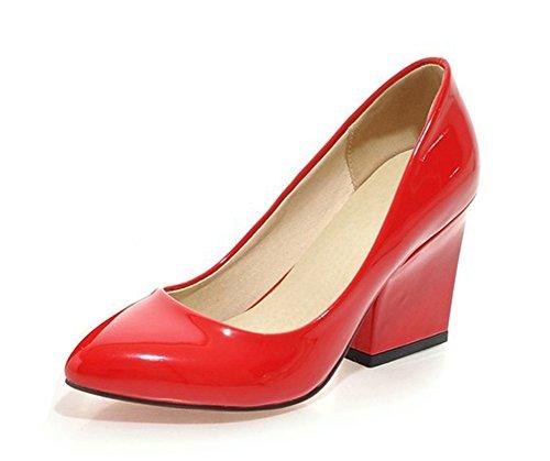 Slip De Cuero De Patente De Las Mujeres De Aisun Slip On Bombas Zapatos De Tacones Altos De Bloque Rojo