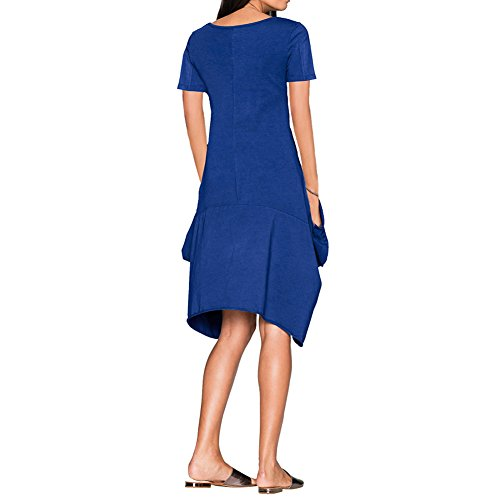 Loose Pocket Bodycon4U Tunic Hem Handkerchief Tops T Dress Shirt Women's Royalblue Flowy 6IAA0n1