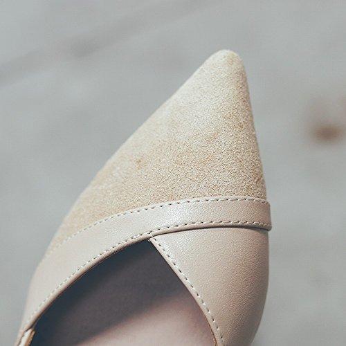 Pointus Dames Profonde Talons Peu Chaussures Épais de Hauts Sauvage Parfumées Petites Chaussures avec DIDIDD Chaussures Bouche Mode 39 Femmes Abricot qOzYO
