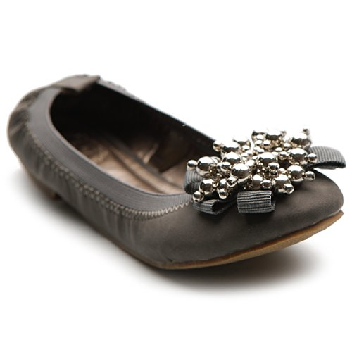 Silver Shoe Cute Women's Ballet Accent Grey Flat Soft Bead Ollio qSwRX6xx