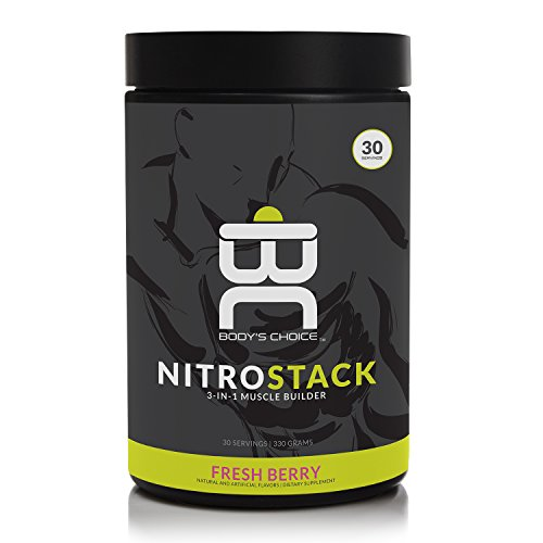 Body`s Choice, Nitro Stack - Muscle Builder Post Workout Supplement, 3 main Ingredients - BCAA, L-Glutamine, Creatine Monohydrate (330 Grams Shake Mix Powder, 30 Servings) Berry Flavor