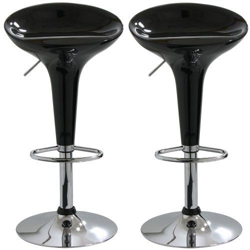 AmeriHome BS103BLKSET Adjustable Height Bar Stool, Set of 2