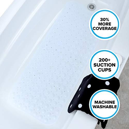 Slipx Solutions White Extra Long Bath Mat Adds Non Slip