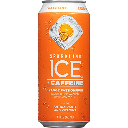 Sparkling Ice + Caffeine Naturally Flavored Sparkling Water with Zero Sugar & Zero Calories 16 ounce Pack of 12 (Orange Passionfruit)