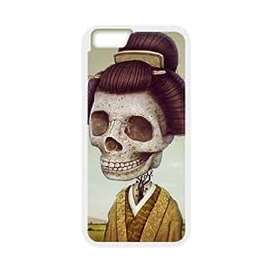 [Skeleton Arts] Skeleton Japanese Girl Case Cover For Apple Iphone 6 Plus 5.5 Inch {White}