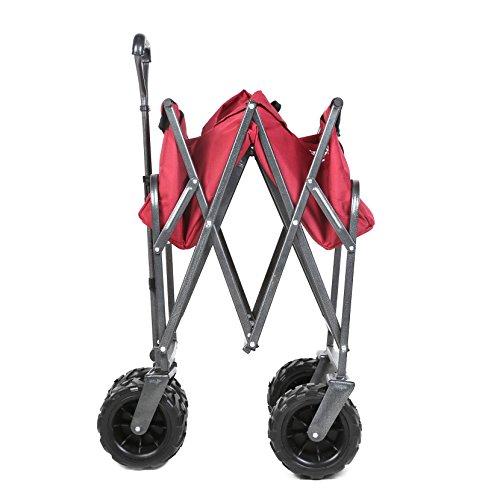 Sekey-Charrette-de-Transport-Pliable-Chariot-de-Transport-Jardin-Chariot-de-Plage-Tout-Terrain-Chariot-de-Jardin-Pliable-Chariot-remorque-de-Jardin-Rouge