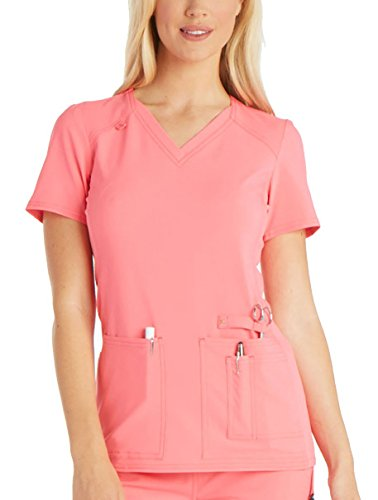 Cherokee Women's Iflex V-Neck Knit Panel Top, Karma Pink, XXX-Large -