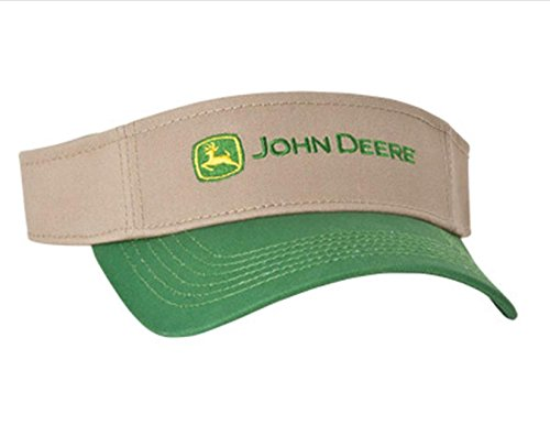 John Deere Khaki Tan Green Visor Hat Cap