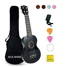 HUA WIND Soprano Ukulele For Beginners Four String Guitar Starter Ukulele Kit with Gig Bag,Tuner,Picks, Polish Cloth,Extra Strings (Black)