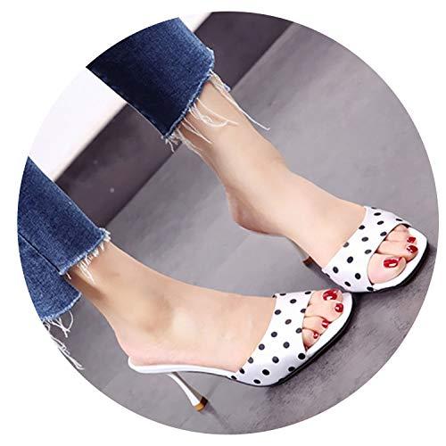 world-palm shoes-sandals Peep Toe Stiletto Slides Designer Shoes Women Luxury 2018 Satin Cute Slippers Polka Dot Black and White High Heels Pumps Sandals,White,38 ()