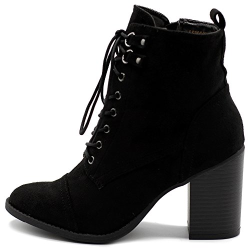 Platform Stack Heel Boots - Ollio Women's Shoe Faux Suede Lace up Stacked High Heel Ankle Boots SSB09 (7 B(M) US, Black)