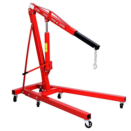 CLIENSY 2 Ton Red Color 4400 lb Folding Engine Hoist Cherry Picker Shop Crane Lift - Large Red Cherry