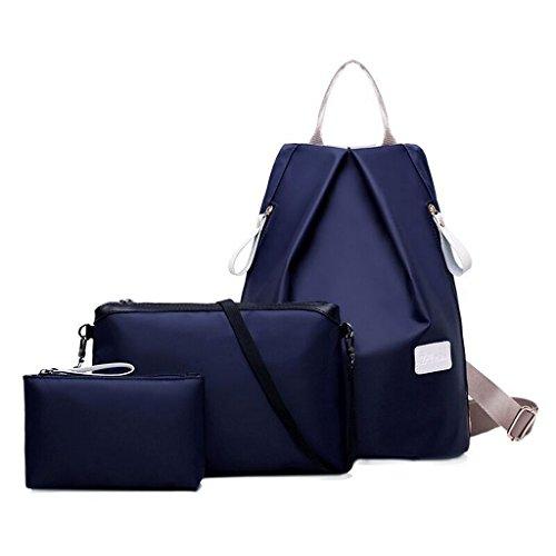 bolsos LD piezas Tejido 3 Azul 003 Mujer de Mochilas impermeable LD y 002 Set aCq1wxw