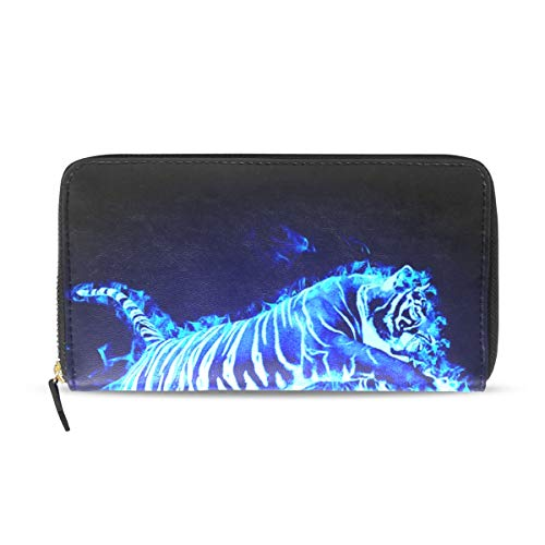 Flaming Tiger Genuine Leather Wallet Case Credit Card Holder Travel Purse With Zipper Pocket For Women