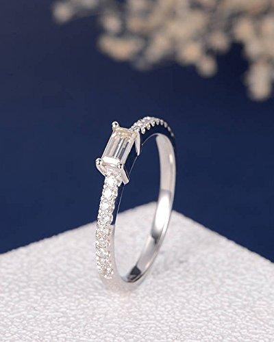 Baguette Cut Moissanite Wedding Ring Solid 14k White Gold Half Eternity Bridal Engagement Diamond Women Engagement Promise Anniversary Stacking Ring ()