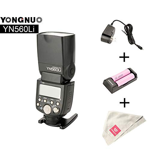 YN560Li-Kit GN58 2.4G Flash Speedlite W Lithium Battery Compatible for Canon Nikon Pentax Olympus DSLR Cameras with Hot Shoe Port