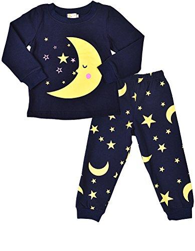SORREL Little Girls Pajamas Moon and Stars Cotton Sleep Clothes Cartoon Sleepwear Pjs Set for Toddler Kid Dark Blue