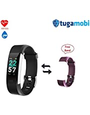 "tugamobi SmartBand SB101,Fitness Tracker, Heart Rate Monitor,Activity Tracker Watch with HR, Step Counter, Sleep Monitor,14 Sport Modes(0.96"" Color Screen,IP68)"