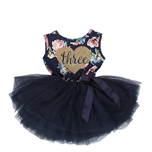 e176bd2df Galleon - Grace & Lucille Toddler Birthday Dress (3rd Birthday) (Navy Floral  Sleeveless, Flat Heart Gold, 3T)
