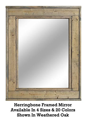 Herringbone Reclaimed Wood Framed Mirror, Available in 4 Sizes and 20 Stain - Oak Mirrors Bathroom Weathered