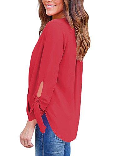 Nouveau rouge col en V froncée Cravate manches Pull Chemisier de soirée pour femme Tenue décontractée d'été Taille UK 8EU 36