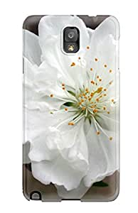 Galaxy Note 3 Hard Back With Bumper Silicone Gel Tpu Case Cover White Flowers