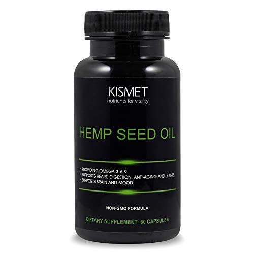 KISMET Hemp Seed Oil – Organic Non-GMO High Strength Relief with Omega 3-6-9 and Orange Oil - for Pain, Anxiety, Psoriasis, Arthritis, and Damaged Skin- 1000mg Capsules