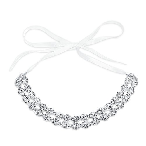 Bridal Lace Headband Wedding Crystal Headpiece Hair White Satin Ribbon Accessories For Women Bride Party Prom Pageant