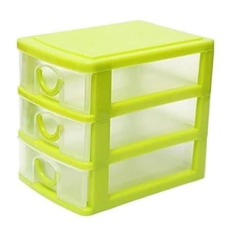 Minisu design moderno desktop contenitore di plastica con tre cassetti Jewelry organizer 13X9X11.5CM rosa