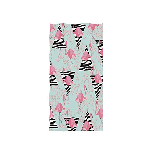 Naanle Pink Flamingo Zebra Textured Triangle and Leopard Print Abstract Geometric Summer Pattern Soft Bath Towel Absorbent Hand Towels Multipurpose for Bathroom Hotel Gym and Spa 30