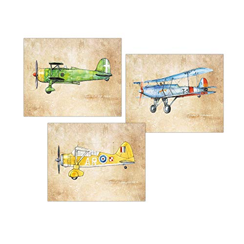 Vintage airplane print Nursery decor Set 3 prints Rustic style