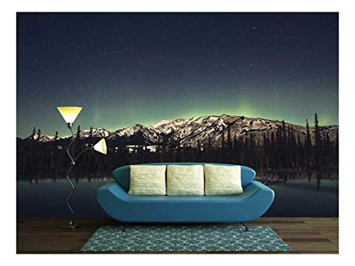 Mountains by the Lake under Starry Night with Aurora