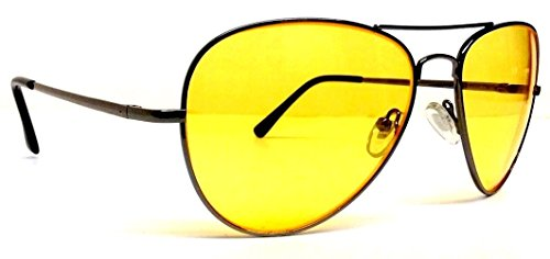 Gun Metal High Definition Yellow Lenses HD Aviator Sunglasses - Definition High Aviator Sunglasses