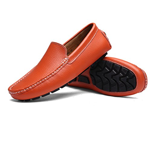 [QIFENGDIANZI]靴 メンズ モカシン ウォーキングシューズ ドライビングシューズ スリッポン クッション コンフォート 通気性 滑り止め 通勤 黒 白 オレンジ ブルー ネイビー