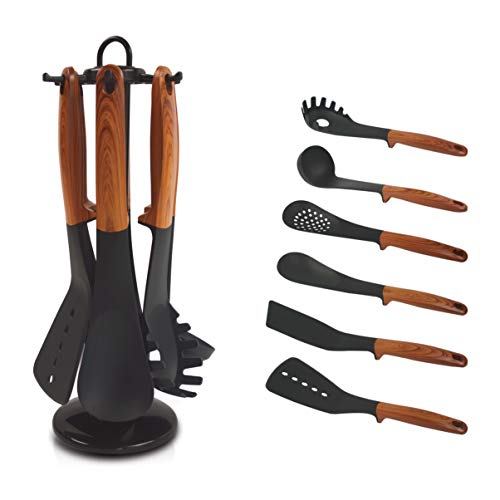 Stylish 6 Piece Nylon Kitchen Cooking Utensil Set with Rotating Carousel Holder by Shorz - BPA Free Nonstick Nylon for Easy Cleaning - Stand is Space Saving Aide