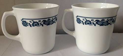(Pyrex Blue Onion Pattern Coffee Mugs, Set of)