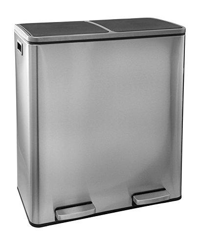 Steeldesign Maro Mülleimer mit 2 Fache Mülltrennung | Design Treteimer mit  60 Liter | Hochwertige Abfalleimer | Edelstahl | Geruchsdicht