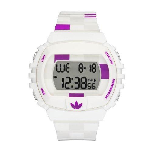 adidas Originals Unisex color blanco y morado cuadros Digital reloj de Nueva York - adh6113: Amazon.es: Relojes