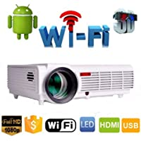 Projetor Led Profissional 3000 Lumes 3d Filmes Slides 1280p Ful HD Android Led96 Wifi Internet