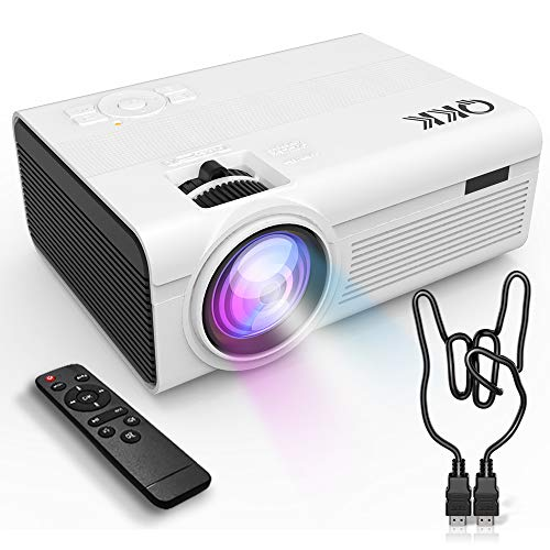 QKK Upgrade 2400Lumens Mini Projector - Home Theater Projector for Indoor & Outdoor Movies & Video Games, Compatible with TV Box, PS4, DVD Player, Smartphones, 50,000 Hours LED Projector
