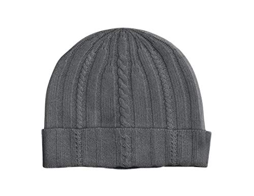 State Cashmere 100% Pure Cashmere Cable Knit Beanie Hat - Ultimate Soft, Warm and Cozy (Charcoal)