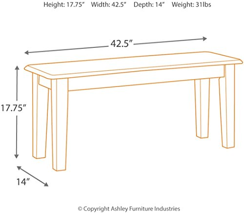 Ashley Furniture Signature Design - Berringer Dining Bench - Rectangular - Vintage Casual - Rustic Brown Finish by Signature Design by Ashley (Image #5)