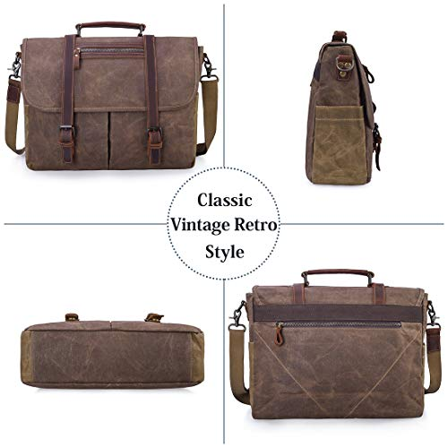 Mens Messenger Bag 15.6 Inch Waterproof Vintage Waxed Canvas Satchel Briefcase Shoulder Bag Retro Distressed Business Computer Laptop Leather Messenger Bag Brown by NUBILY (Image #3)