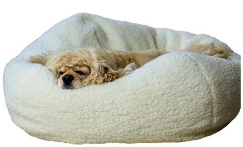 Sherpa Puff Ball Pet Bed in Natural Sherpa Size: Medium