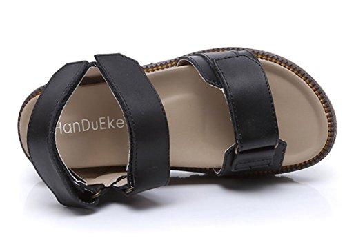 5cm Colores Sandalias SHFANG Ocio Señoras Cómodo romano Compras Tres Parte estilo Black Estudiantes Verano q741a