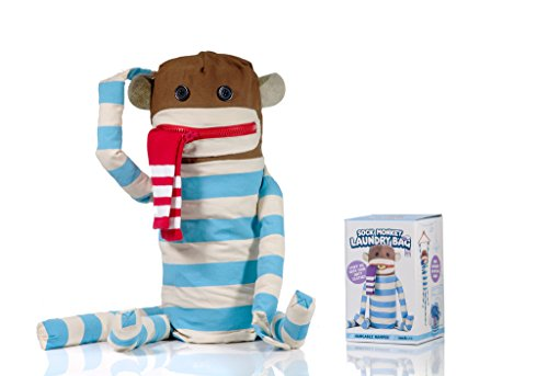 (SUCK UK Sock Monkey Laundry Bag and Hanging Washing Basket with Velcro Hands,)
